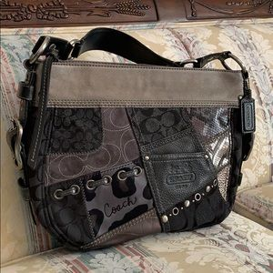Coach hobo bag in black patchwork